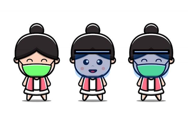 Leuk meisje draagt masker nieuwe normale cartoon vectorillustratie