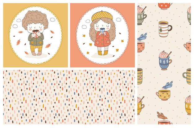 Leuk meisje en jongen doodle stripfiguren. kinderkaarten en naadloos patroon. herfst stijl.