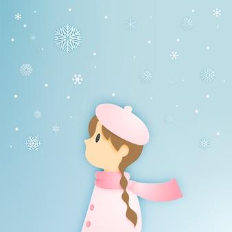 Leuk meisje en sneeuwvlok met papier kunst stijl vectorillustratie