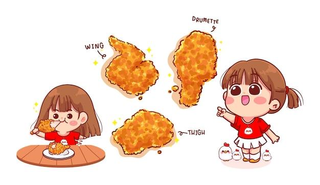 Leuk meisje eten gebakken kip cartoon kunst illustratie