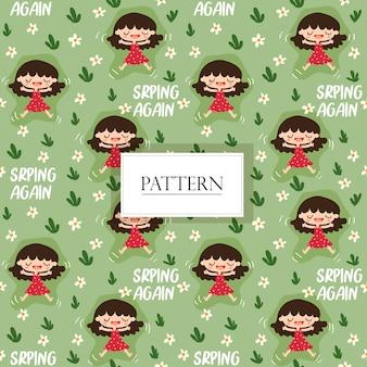 Leuk meisje gelukkig met het naadloze patroon van de de lentebloem