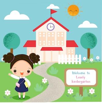 Leuk meisje gelukkig naar school gaan
