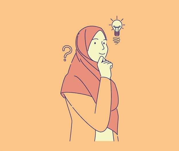 Leuk meisje heeft idee handgetekende stijl. jonge mooie moslimvrouw die lacht met vinger op kin, vector illustratie concept.