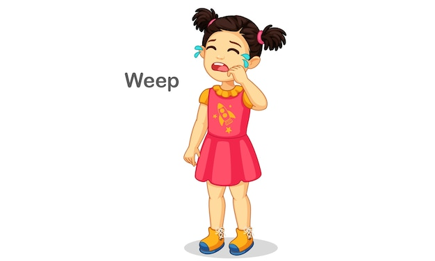 Leuk meisje huilende illustratie