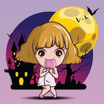 Leuk meisje in akaname-spookkostuum., akaname is een huishoudelijke godheid van de japanse volksreligie.