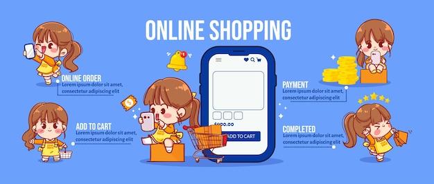 Leuk meisje in concept online winkelen infographic cartoon kunst illustratie