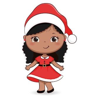 Leuk meisje in de illustratie van de santahoed