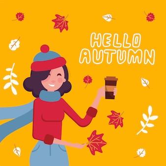 Leuk meisje in de warme kop van de sweaterholding van hete koffie met
