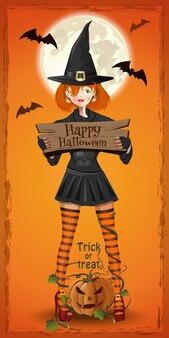 Leuk meisje in een heksenpak feliciteert met halloween. mooie heks op de achtergrond van de volle maan. illustratie