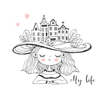 Leuk meisje in een hoed met huizen op haar hoofd. kleurplaten.