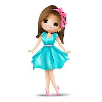Leuk meisje in een roze boog en blauwe jurk