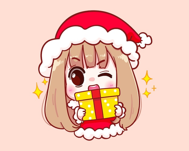 Leuk meisje in het kostuum van de kerstman die een vrolijke kerstmisillustratie van de giftdoos houden