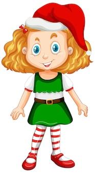 Leuk meisje in het stripfiguur van het kerstkostuum