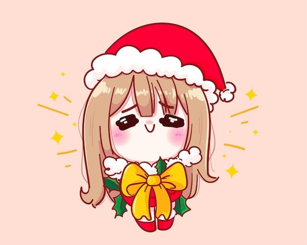 Leuk meisje in kerstman kostuum bind een strik op jezelf illustratie