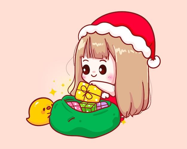 Leuk meisje in kerstman kostuum zet een geschenkdoos in een stoffen tas illustratie