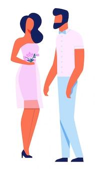 Leuk meisje in roze jurk houden boeket bloemen