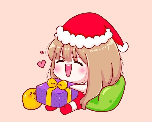 Leuk meisje in santa claus-kostuum zittend met een illustratie van de giftdoos