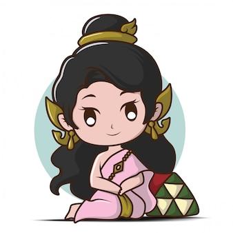 Leuk meisje in thaise traditie kostuum cartoon in liefde.