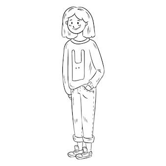 Leuk meisje in vrijetijdskleding. vectorbeeld van mooi tienermeisje