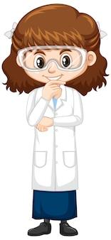Leuk meisje in wetenschapstoga op wit