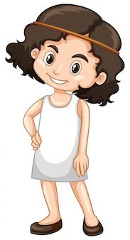 Leuk meisje in witte jurk op wit