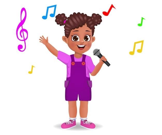Leuk meisje jongen zingen lied geïsoleerd op wit