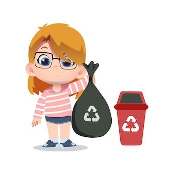 Leuk meisje karakter schoonmaken en recycleren van afval