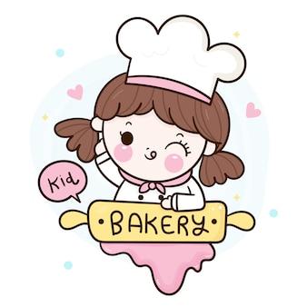 Leuk meisje kawaii bakkerij winkel logo cartoon voor kind dessert