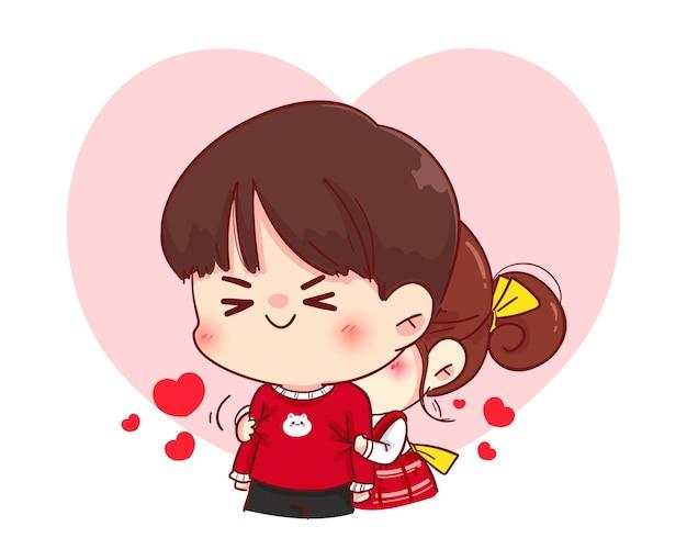 Leuk meisje knuffelen haar vriendje van achteren, happy valentine, cartoon karakter illustratie