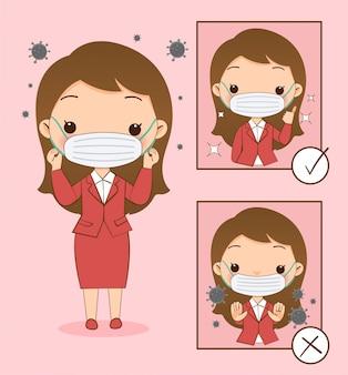 Leuk meisje laat zien hoe je een masker draagt om het virus te voorkomen