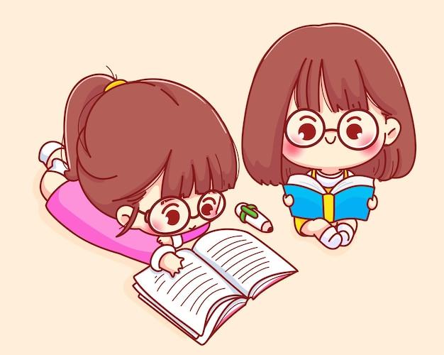 Leuk meisje lezen boek cartoon karakter illustratie