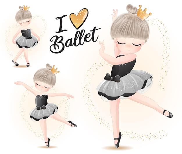 Leuk meisje met ballerina aquarel illustratie set