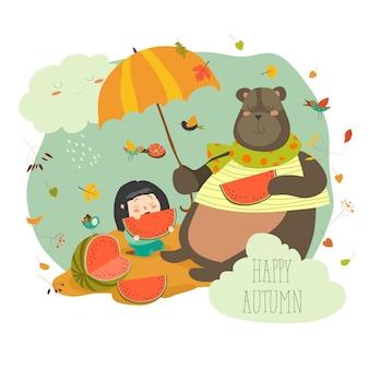 Leuk meisje met beer die watermeloen eet
