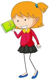 Leuk meisje met boek doodle stripfiguur