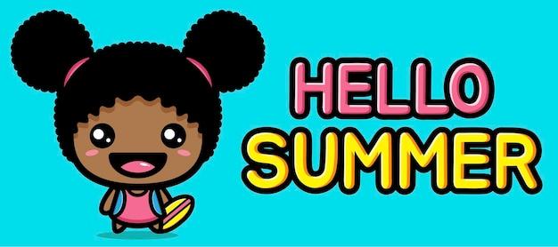 Leuk meisje met de banner van de de zomergroet