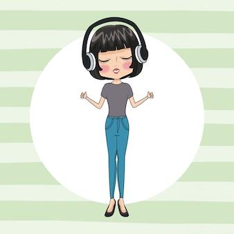 Leuk meisje met een koptelefoon