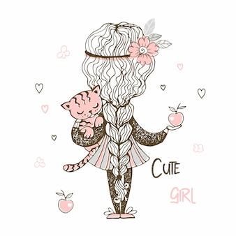 Leuk meisje met een lange vlecht die een katje houdt.