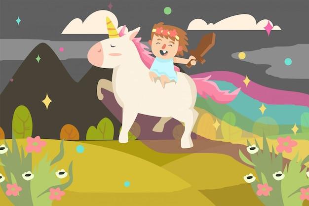 Leuk meisje met eenhoorn illustratie