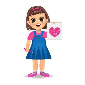 Leuk meisje met hart getrokken papier