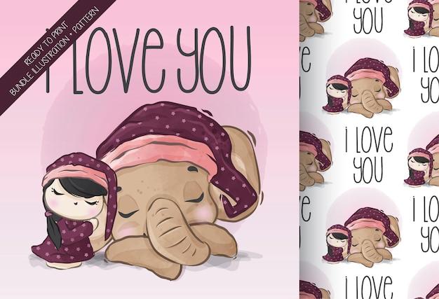 Leuk meisje met het naadloze tijdpatroon van de babyolifant slapen
