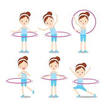 Leuk meisje met hoelahoep twirling op haar lichaam acties ingesteld, activiteit voor gezond