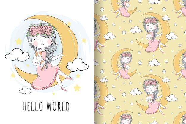 Leuk meisje met kat op het maan naadloze patroon