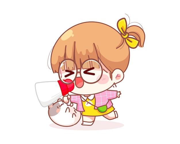 Leuk meisje met megafoon schreeuwende cartoon afbeelding