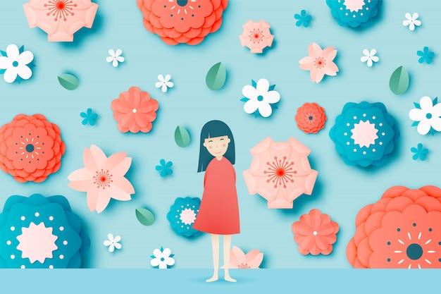 Leuk meisje met mooie bloemendocument kunst en vectorillustrust van de pastelkleurregeling