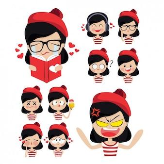 Leuk meisje met rode hoed en haar emoties