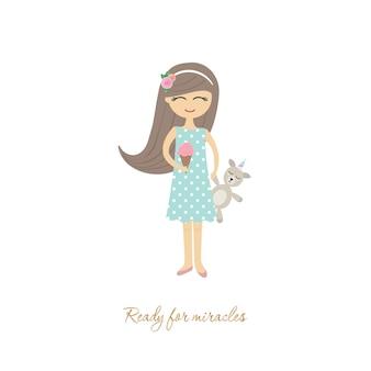 Leuk meisje met stuk speelgoed eenhoorn die op wit wordt geïsoleerd.