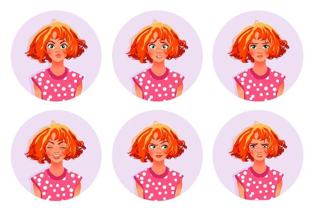 Leuk meisje met verschillende emoties.