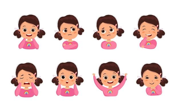 Leuk meisje met verschillende gezichtsuitdrukkingen
