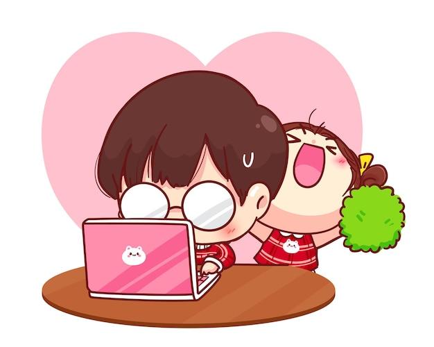 Leuk meisje moedigt haar vriendje aan het werken, cartoon karakter illustratie