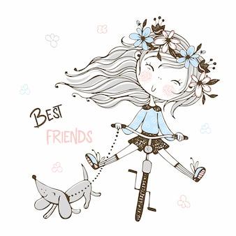 Leuk meisje op een fiets met haar hondtekkel. beste vrienden.